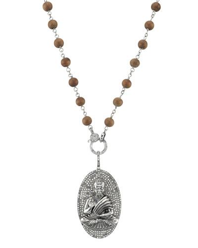 Long Wood & Diamond Buddha Pendant Necklace