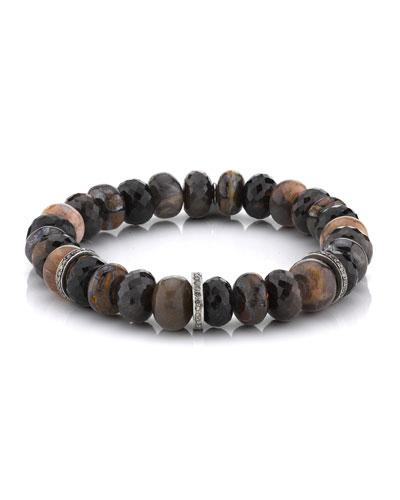 10mm Brown Stone & 3-Diamond Rondelle Bracelet