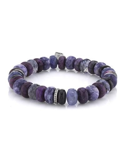 10mm Purple Stone & 3-Diamond Rondelle Bracelet