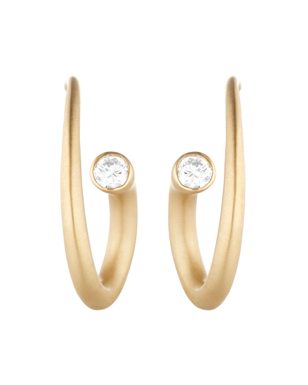 CARELLE Whirl 18K Gold Diamond Spiral Earrings