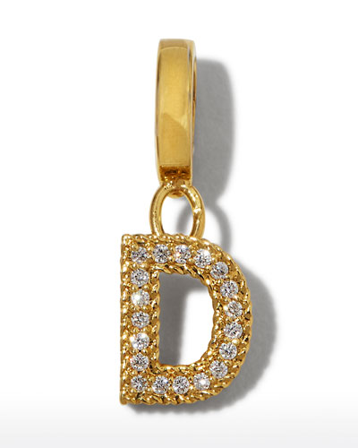 18k Gold & Diamond Letter D Charm