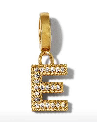 18k Gold & Diamond Letter  E Charm