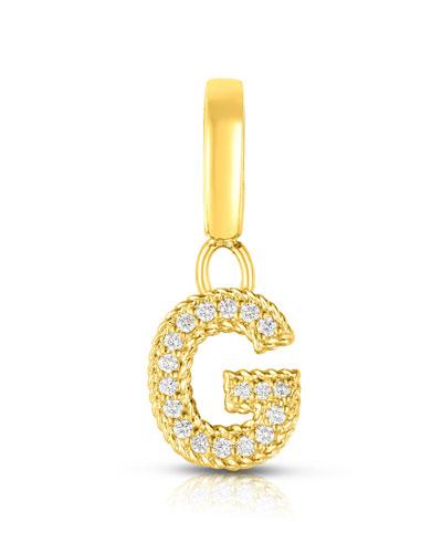 18k Gold & Diamond Letter G Charm