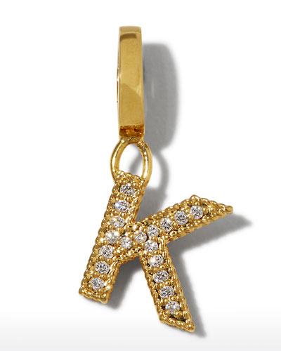 18k Gold & Diamond Letter K Charm