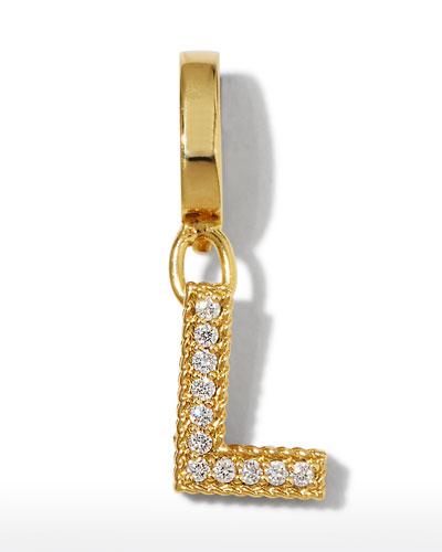 18k Gold & Diamond Letter L Charm