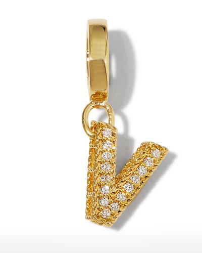 18k Gold & Diamond Letter V Charm