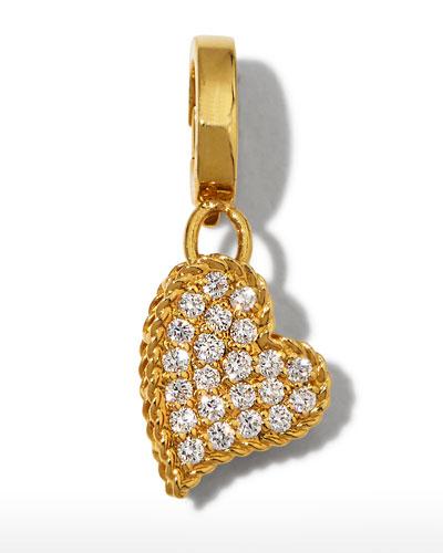 18k Gold & Diamond Heart Charm
