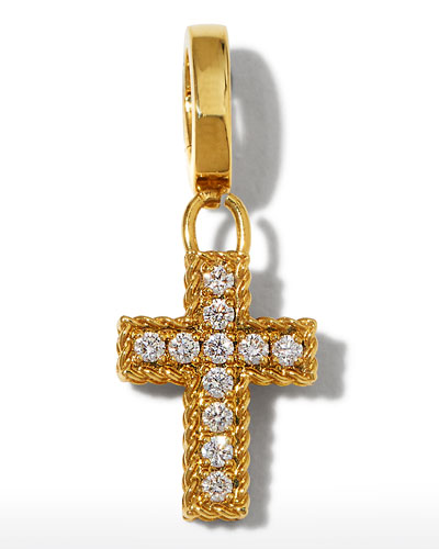 18k Gold Diamond Cross Charm