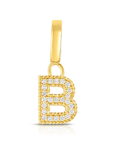 18k Gold & Diamond Letter B Charm