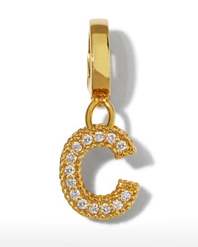 18k Gold & Diamond Letter C Charm