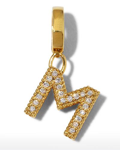 18k Gold & Diamond Letter M Charm