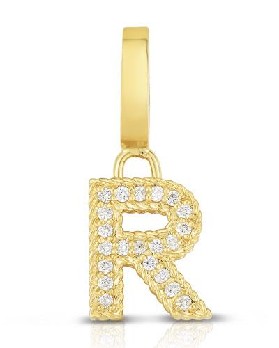 18k Gold & Diamond Letter R Charm