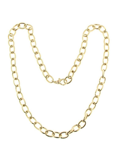18k Gold Round Link Chain Necklace