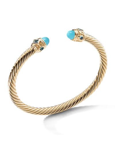 Renaissance 18k Gold, Turquoise & Topaz Bracelet, Size L