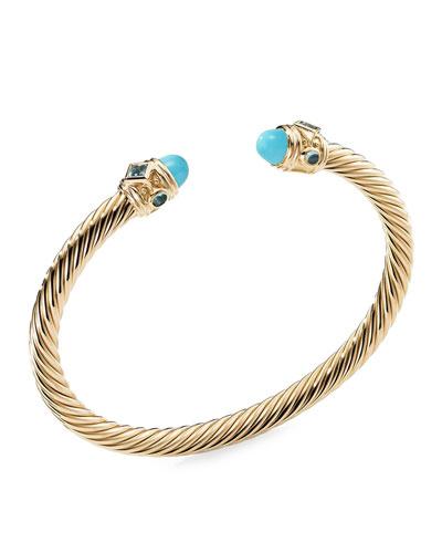 Renaissance 18k Gold, Turquoise & Topaz Bracelet, Size S