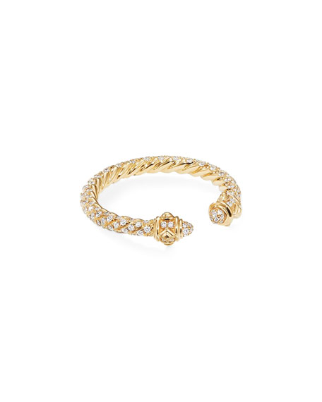 David Yurman Renaissance 18k Gold & Full Diamond Ring, Size 5