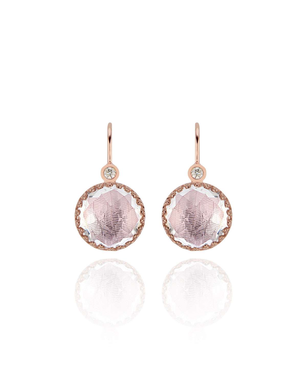 LARKSPUR & HAWK Olivia Diamond & Drop Earrings In Rose Gold Wash With Ballet Foil in Pink