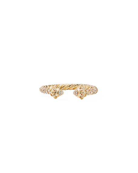 David Yurman Renaissance 18k Gold & Full Diamond Ring, Size 8