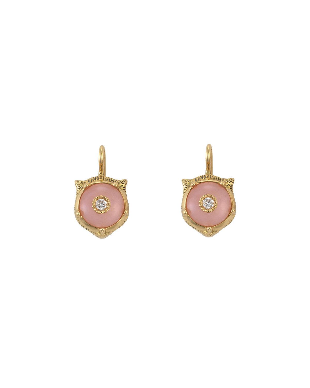 b7e6d26cb0d73f Gucci 18K Gold Le Marche Des Merveilles Opal Feline Earrings In Yellow  Gold/ Pink Opal