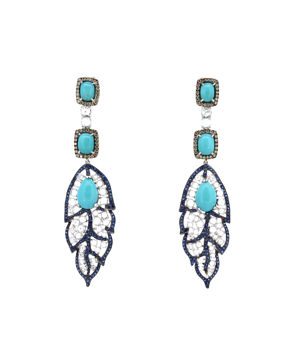 WENDY YUE 18K White Gold Turquoise Leaf Drop Earrings