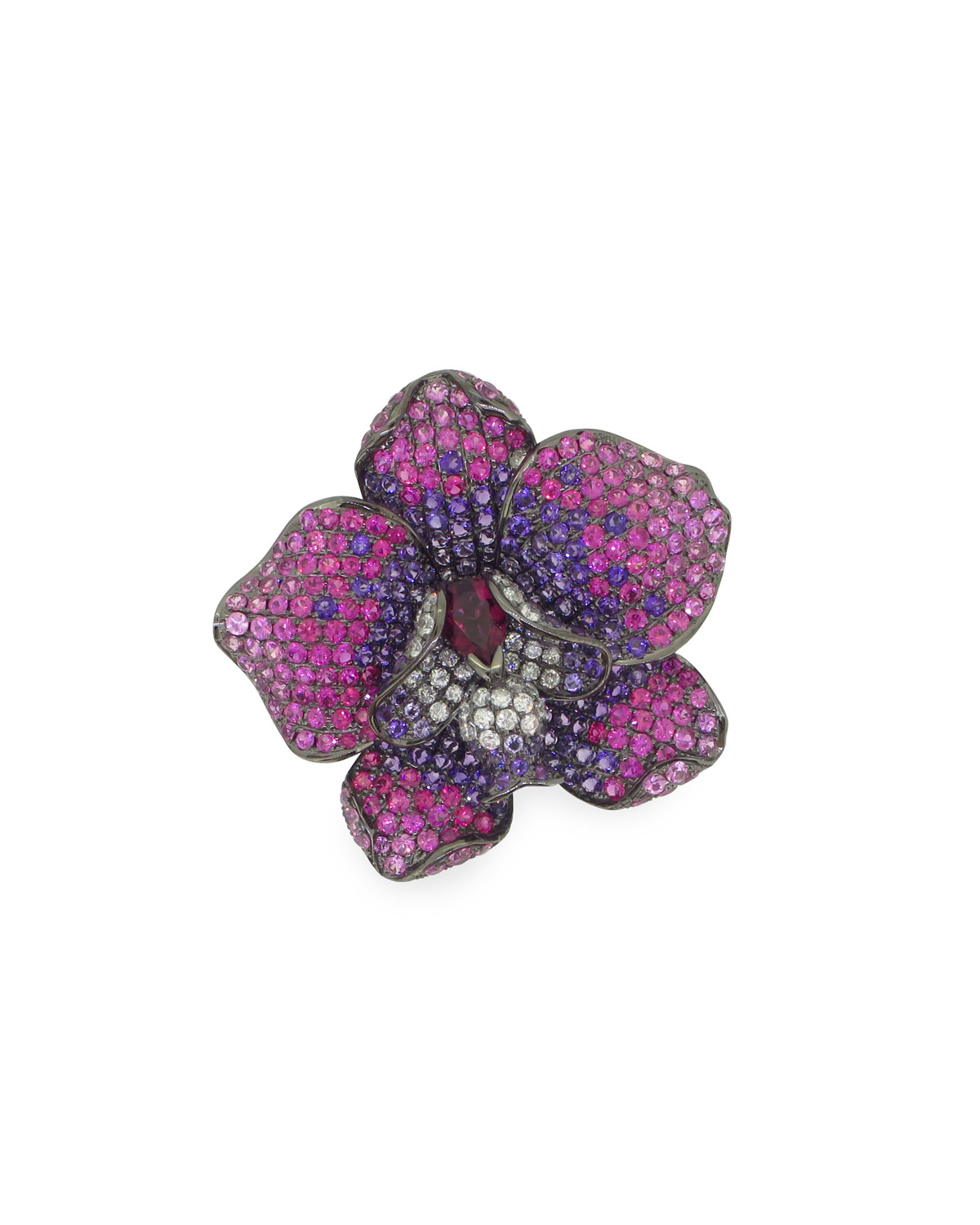 WENDY YUE 18K White Gold Pave Flower Ring, Size Us 6.75