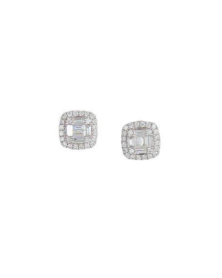 Frederic Sage 18k White Gold Diamond Cushion Earrings