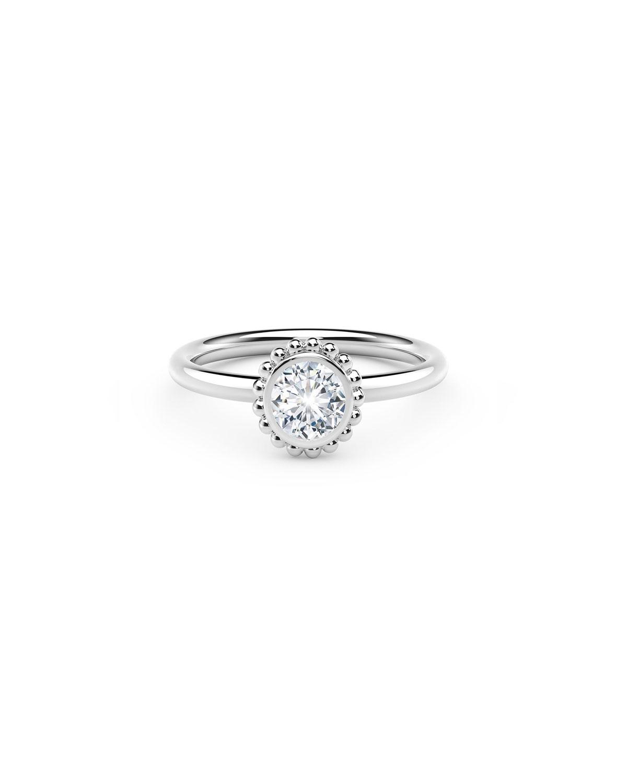 18k White Gold Diamond Beaded Engagement Ring
