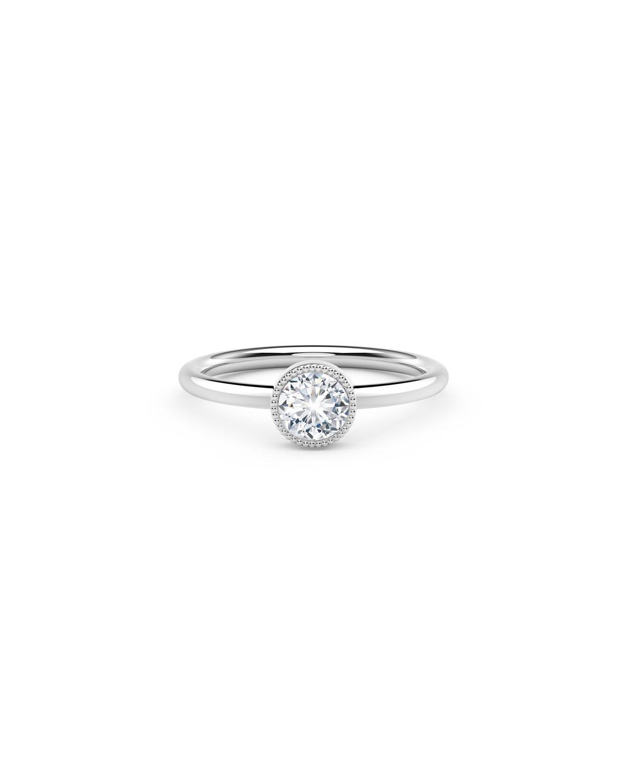 18K White Gold Beaded Diamond Engagement Ring