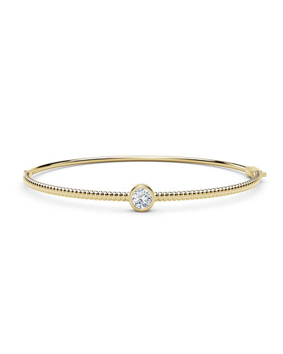 18K Yellow Gold Beaded Diamond Bangle Bracelet