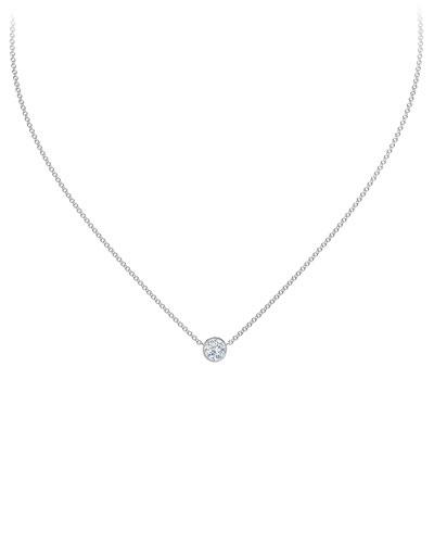 18K White Gold Diamond Pendant Necklace, 16