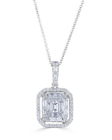 ZYDO 18k Mosaic Diamond Pendant Necklace, 1.01tcw