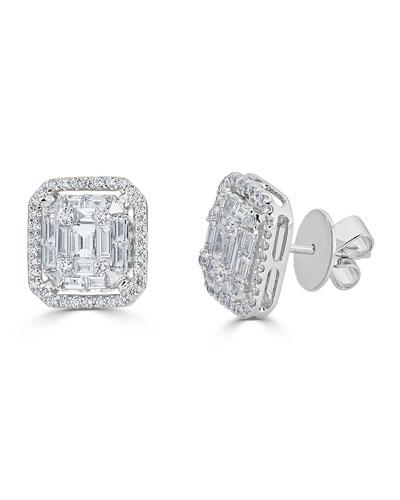 18k Mosaic Mixed-Cut Diamond Stud Earrings, 1.43tcw