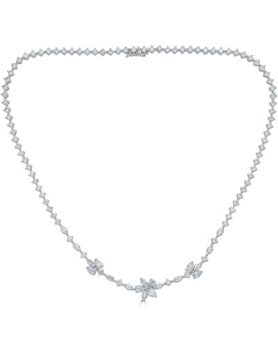 18k Luminal Diamond Flower Necklace, 9.53tcw
