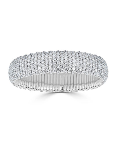 Stretch 18k White Gold & Wide Diamond Bracelet, 19.36tcw