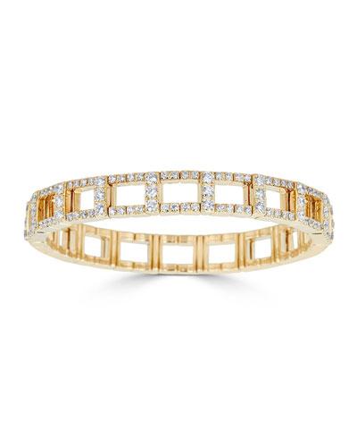 18k Gold Stretch Link Bracelet w/ Diamonds, 4.38tcw