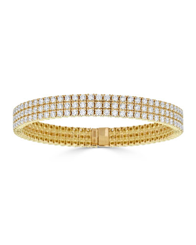 Diamond 3-Row Stretch Bracelet in 18k Gold