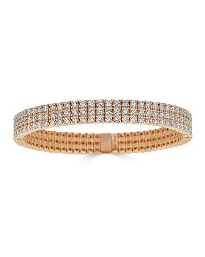 Diamond 3-Row Stretch Bracelet in 18k Rose Gold
