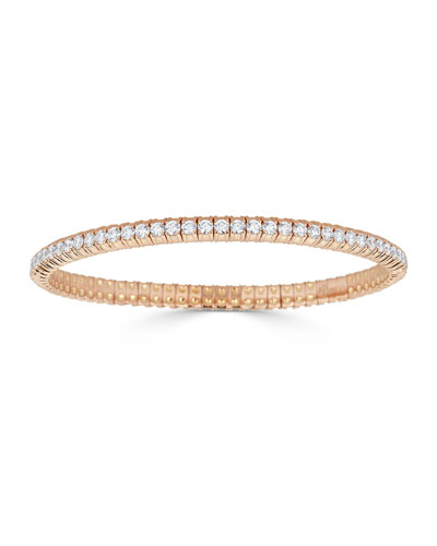 Diamond Stretch Bracelet in 18k Rose Gold, 3.82tcw