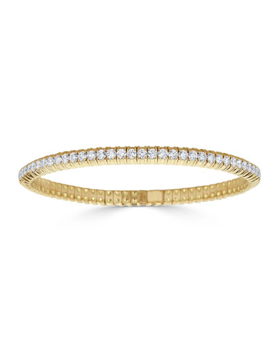 Diamond Stretch Bracelet in 18k Gold, 3.77tcw