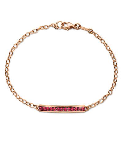 Rose Gold Poesy Bracelet w/ Rubies