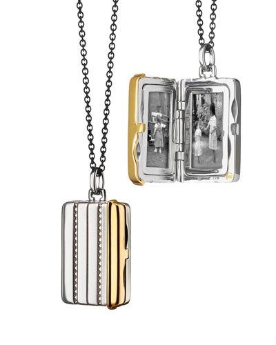 Silver & 18k Yellow Gold Rectangle Locket Necklace, 32