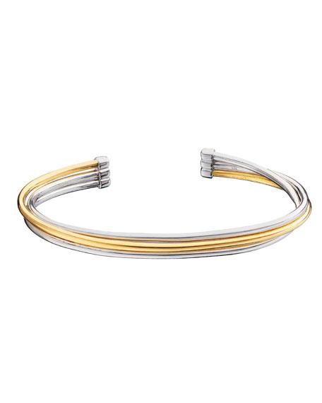 Monica Rich Kosann Silver & 18k Yellow Gold Flex 3-Row Cuff Bracelet
