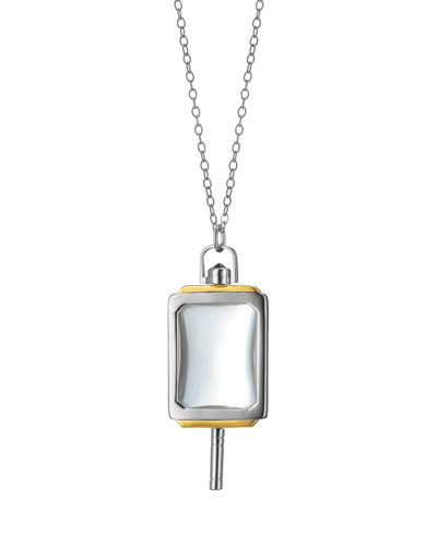 Silver & 18k Yellow Gold Rectangle Pocket Watch Key Pendant Necklace, 32