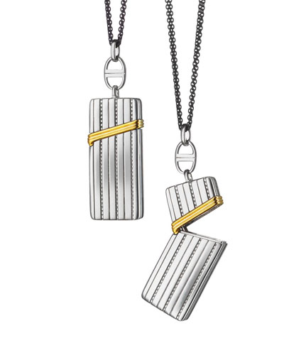 Silver & 18k Yellow Gold Secret Box Pendant Necklace, 32