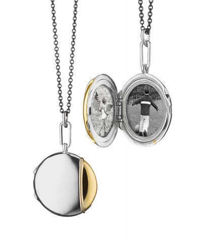 Silver & 18k Yellow Gold Round Locket Necklace, 32