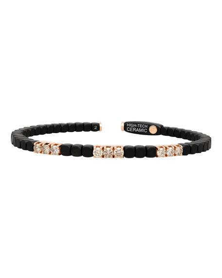 Roberto Demeglio Dado 18k Rose Gold, Ceramic & Nine Diamond Bracelet