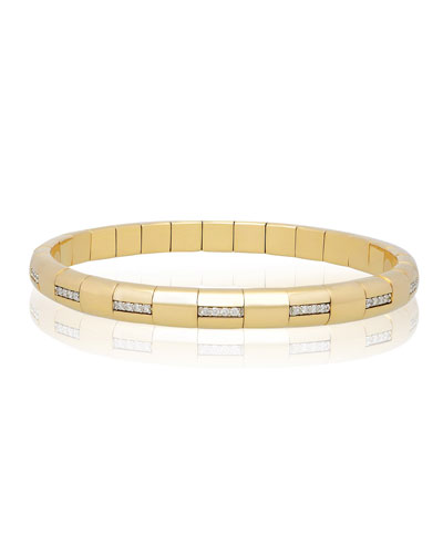 PURA GOLD 18k Woven Diamond Bar Bracelet