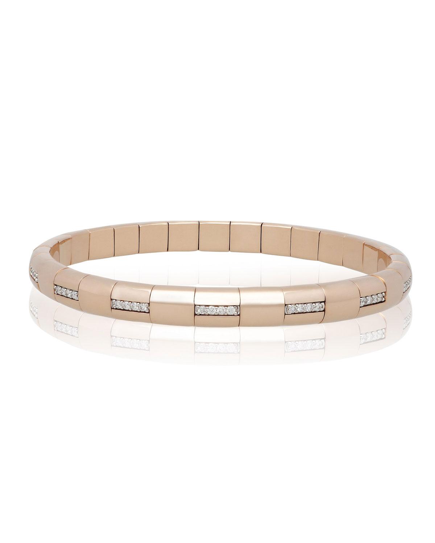ROBERTO DEMEGLIO Pura Gold 18K Rose Gold Woven Diamond Bar Bracelet