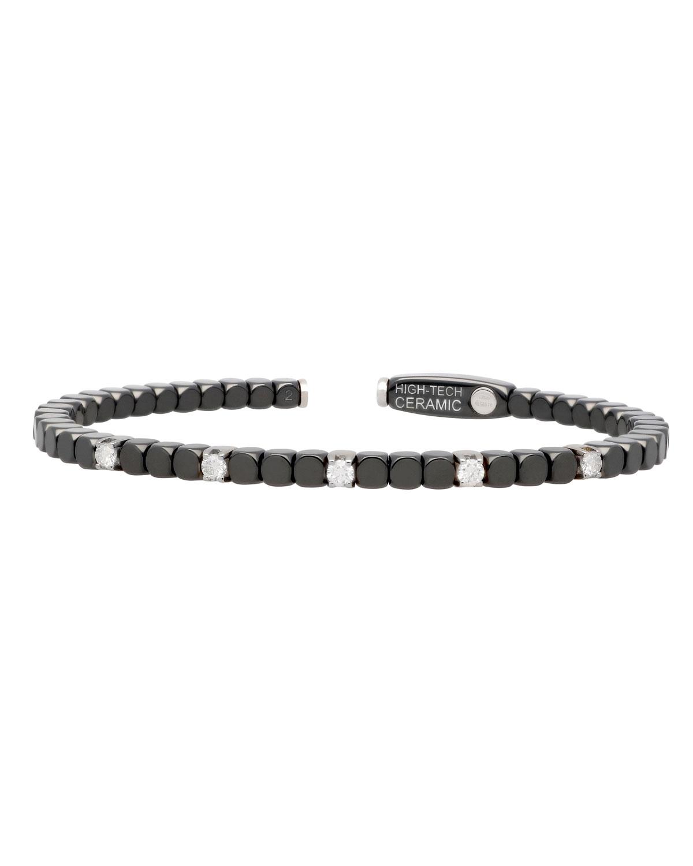 ROBERTO DEMEGLIO Dado 18K White Gold, Ceramic & Five Diamond Bracelet
