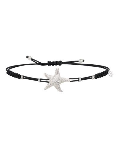 18k White Gold Diamond Star Pull-Cord Bracelet